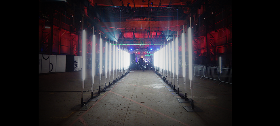 The tunnel of lights leading to the Robot Wars arena