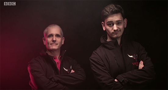 Team pose (screenshot from BBC)